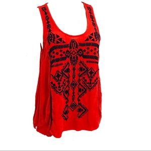 Ecote red embroidered loose open back blouse top S